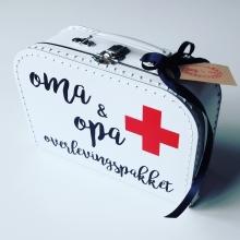 zwangerschapsaankondiging oma en opa overlevingspakket starterspakket koffertje kinderkoffertje zwanger aankondiging